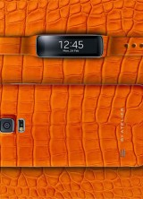 By Atelier Dresses Samsung Galaxy S5 and Gear Fit in Orange Aligator Leather
