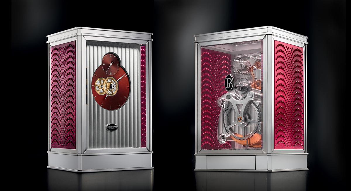 Parmigiani Fleurier 15-day table clock comes complete with Lalique crystals