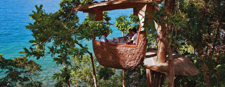 At the resort Soneva Kiri in Thailand you can dine on the top of the tree literally.