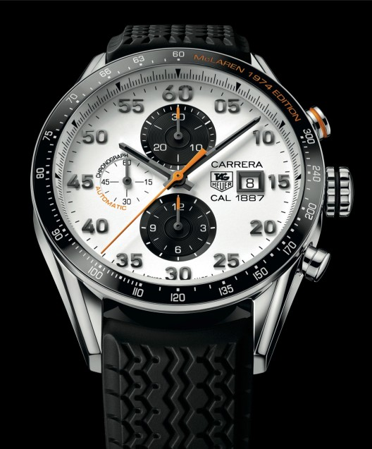 TAG Heuer Carrera McLaren 1974 Edition is based on the 43mm Carrera 1887 Ceramic Bezel