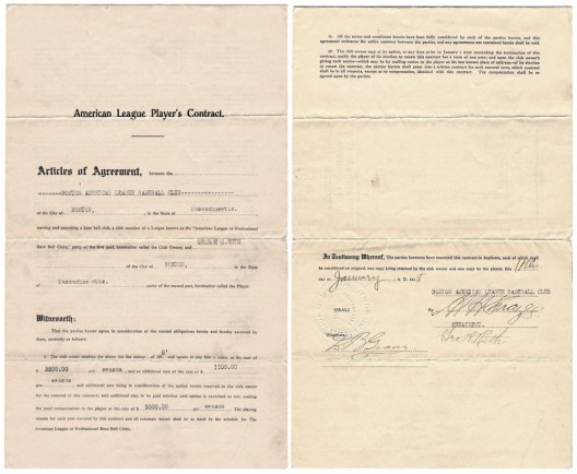 Babe Ruth's Contract with Red Sox Sold for $1.02 Million at Auction