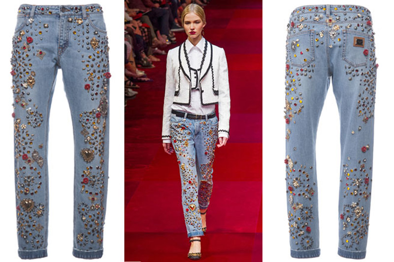 $12,500 Dolce & Gabbana Pair of Jeans With Swarovski Crystals