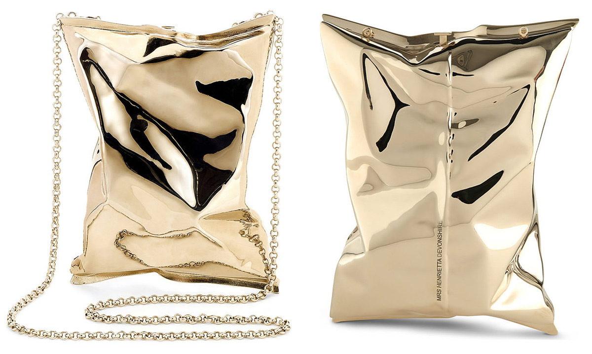 £60,000 Anya Hindmarch's Personalised Crisp Packet Clutch in 18ct Gold