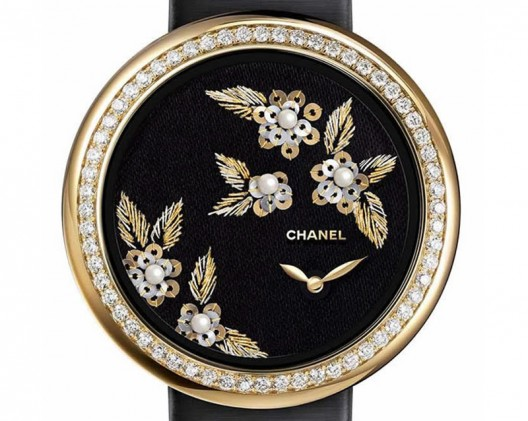Chanel's New Mademoiselle Prive Watches with Embroidered Camellia Decoration