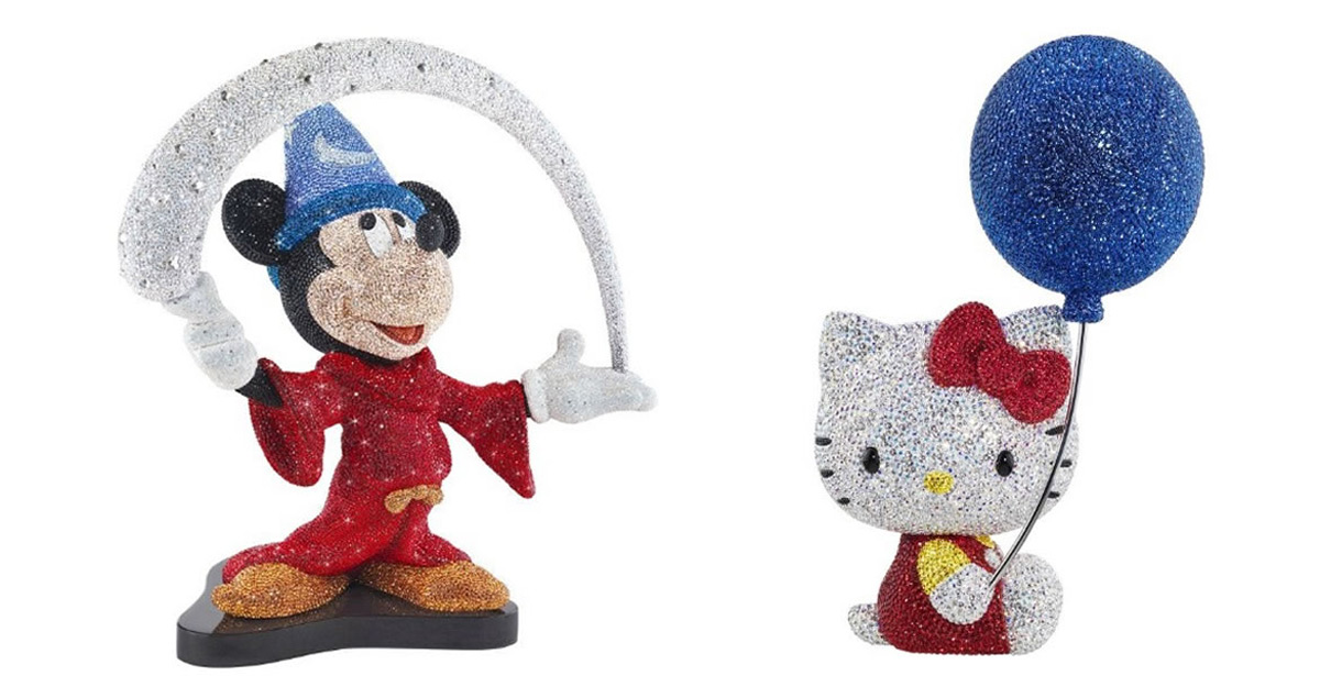 Mickey Mouse And Hello Kitty With Swarovski Crystals - Limited Edition 2014