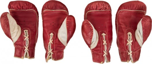 The gloves worn by both Muhammad Ali and Sonny Liston