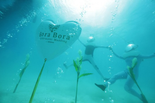 Wedding Ceremony Under the Turquoise Waters of the Lagoon of Bora Bora
