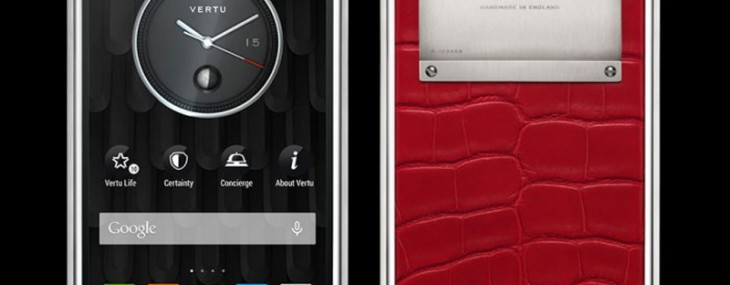 Vertu Phone Wrapped In Red Alligator Leather and White Diamonds