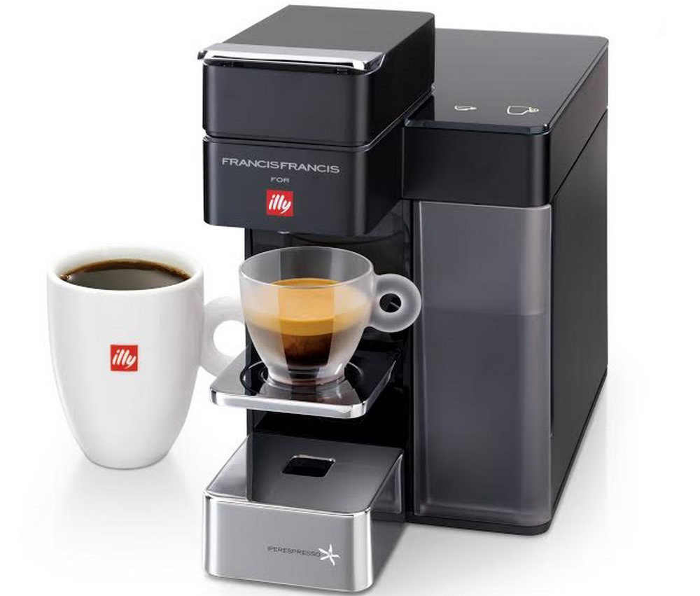 new illy francis francis y5 duo espresso and coffee. Black Bedroom Furniture Sets. Home Design Ideas