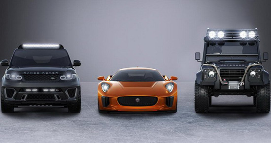Jaguar C-X75 in this film will also appear Range Rover Sport SVR, as well as special Land Rover Defender Big Foot