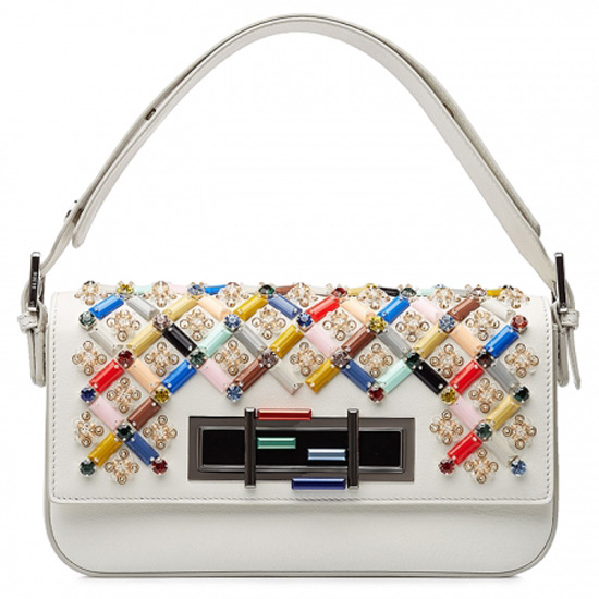 Fendi Multicolored Embellished Leather Baguette Shoulder Bag