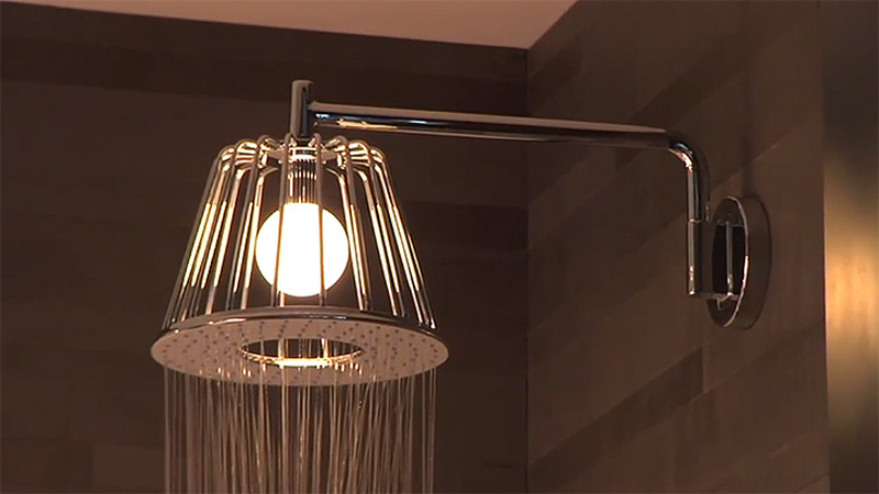 This illuminated showerhead adds an artistic touch to your bathroom