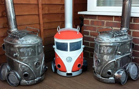 Log Burners Shaped Like Volkswagen Campers