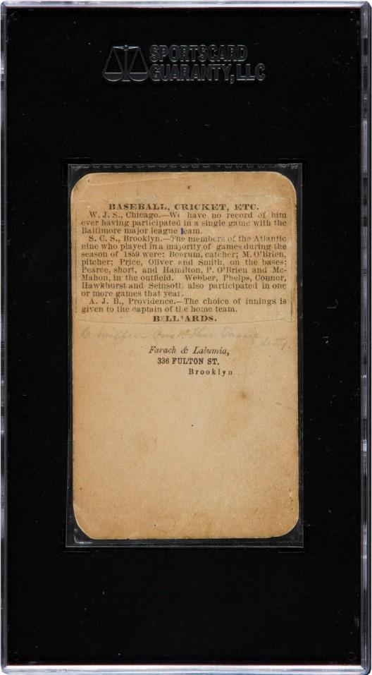 1860 Brooklyn Atlantics Baseball Card Could Fetch $50,000 At Auction
