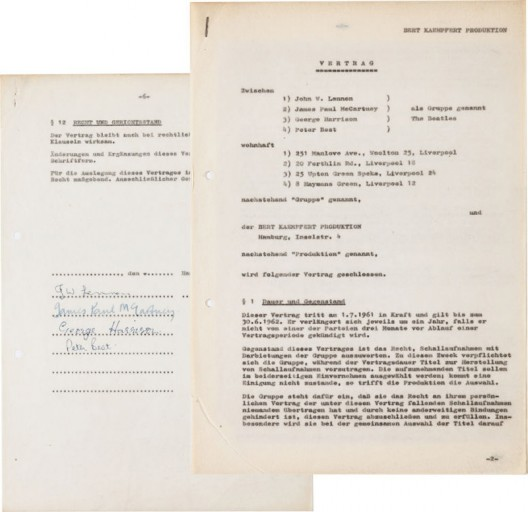 Beatles First Recording Contract