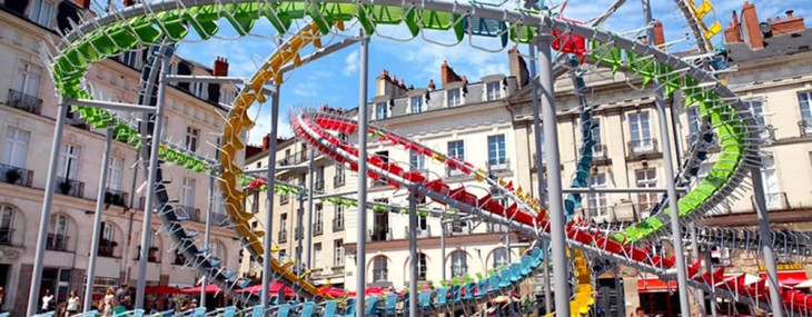 A roller coaster that is made of hundreds of cafe chairs pops up in France