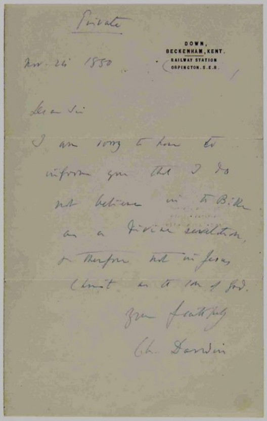 "Darwin's Letter Saying ""I don't believe in the Bible"""
