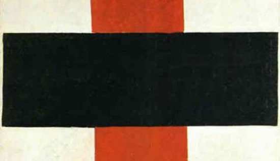 "Kazimir Malevich's painting ""Mystic Suprematism (Black Cross on Red Oval)"""