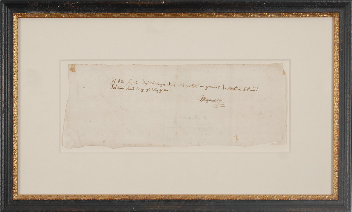 Mozart's Letter Sold for $270,000