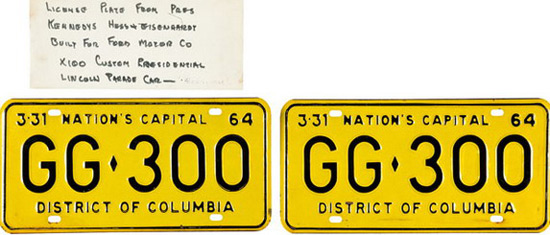 License Plate From Limousine In Which JFK Was Assassinated Sold for $100,000