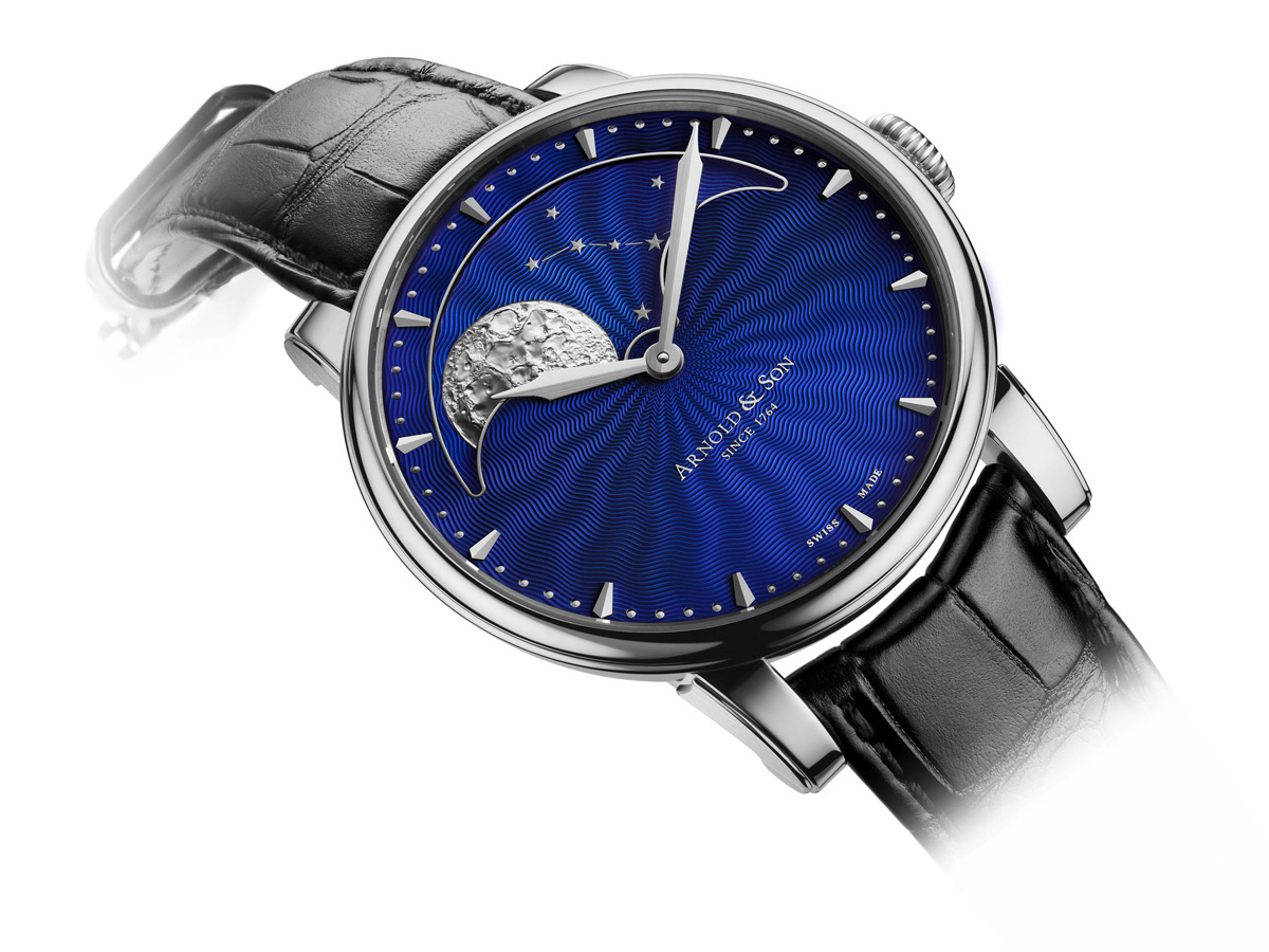 Arnold & Son's New HM Perpetual Moon With Steel Case And Blue Guilloché Dial