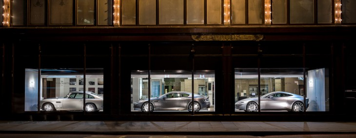 Three Aston Martins At Harrods Window