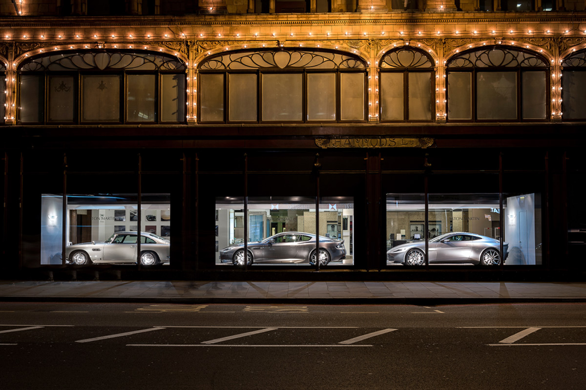 Three Aston Martins At Harrods Window