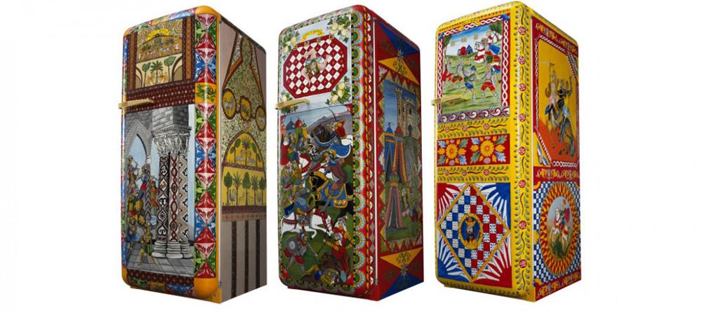 smeg 39 s fridges dressed in dolce gabbana extravaganzi. Black Bedroom Furniture Sets. Home Design Ideas